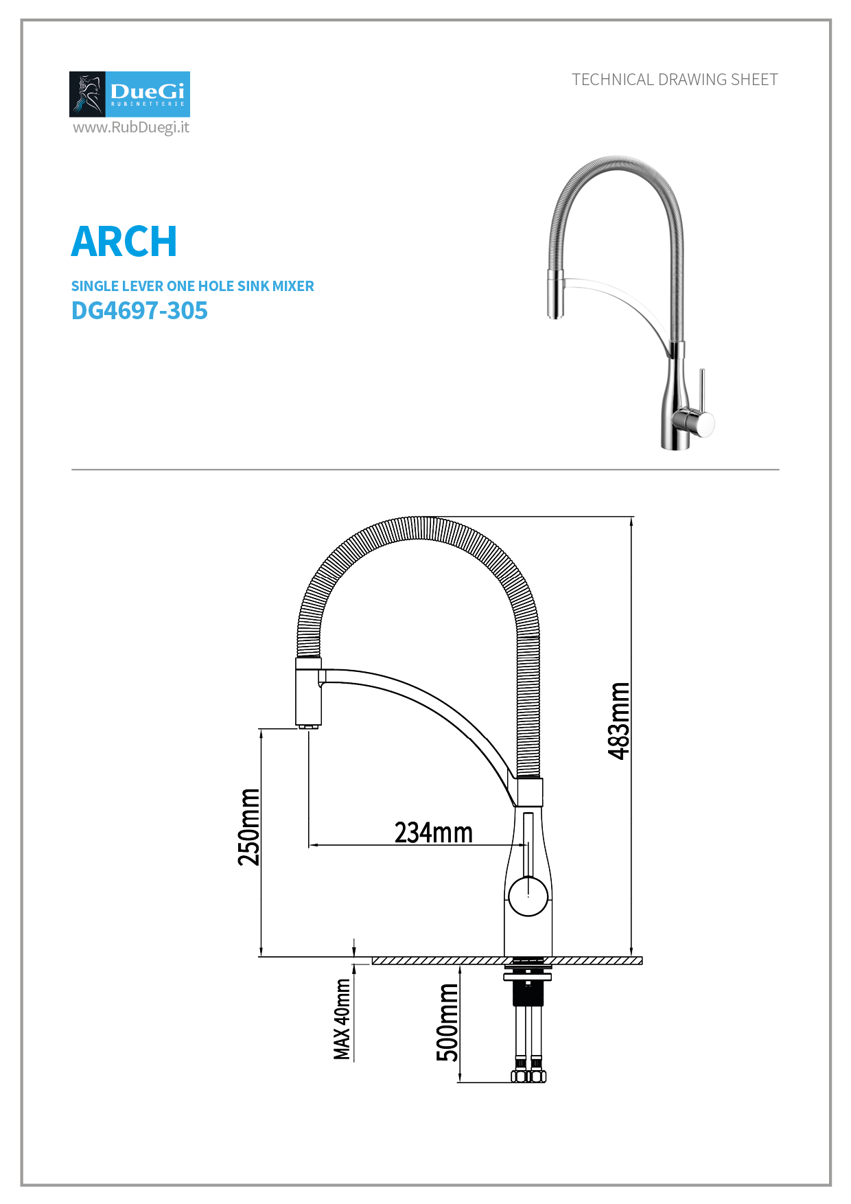 Arch kitchen mixer