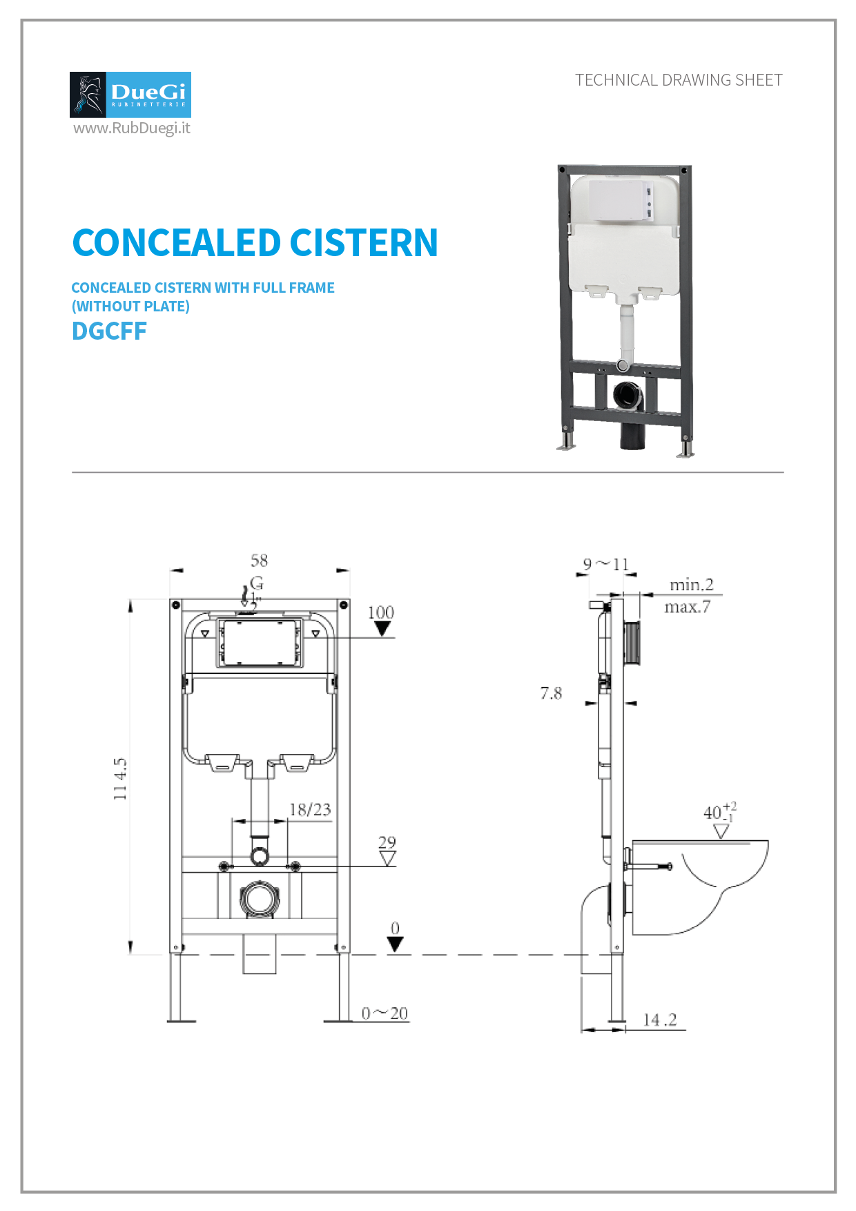 concealed cistern with a full frame