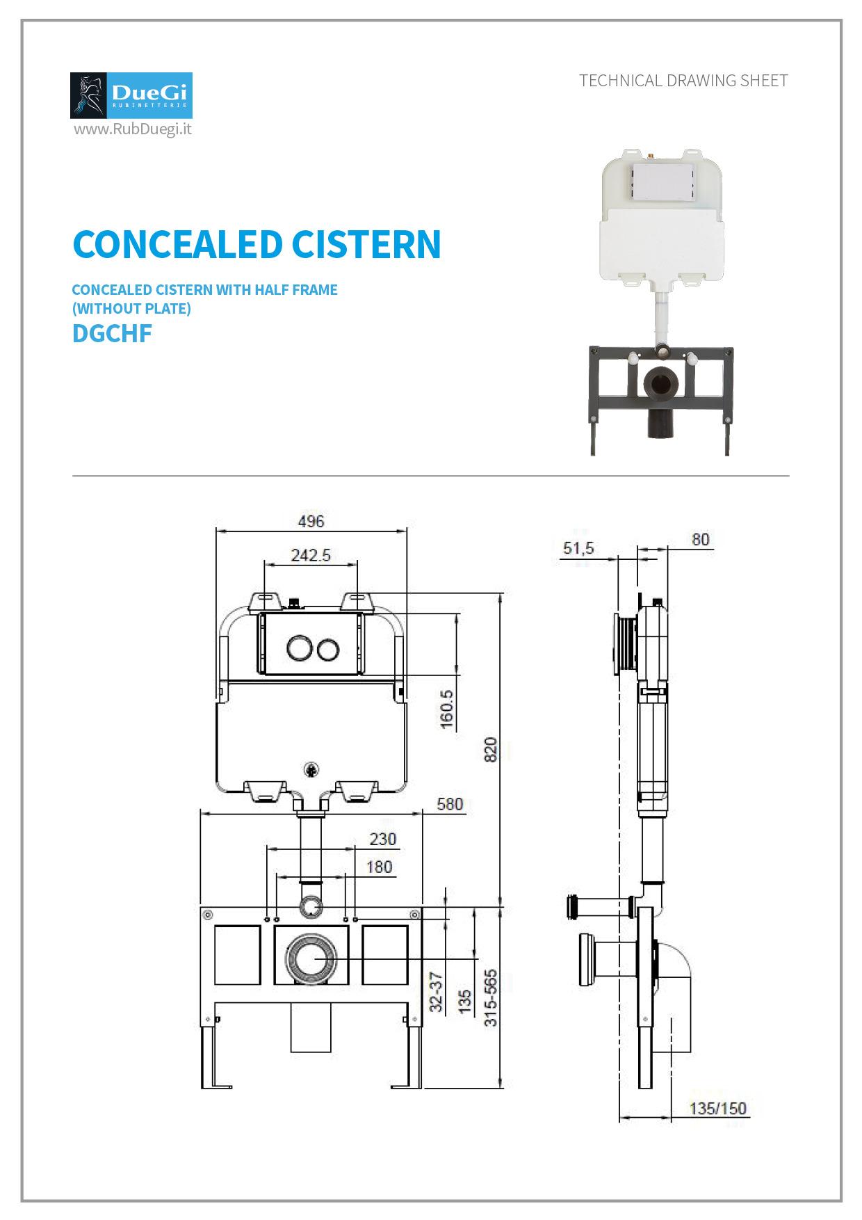 concealed cistern half frame