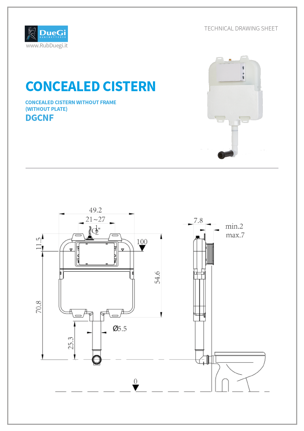 concealed cistern without fram